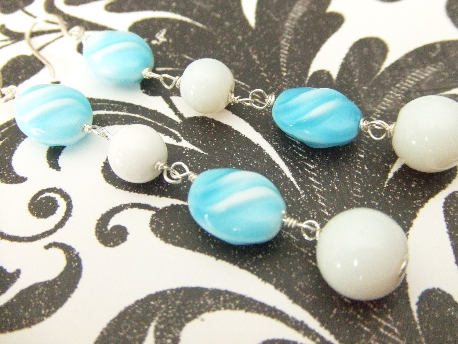 Turquoise and White Sterling Silver Dangle Earrings