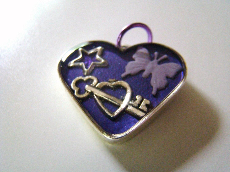 Heart Shaped Purple Butterfly Pendant