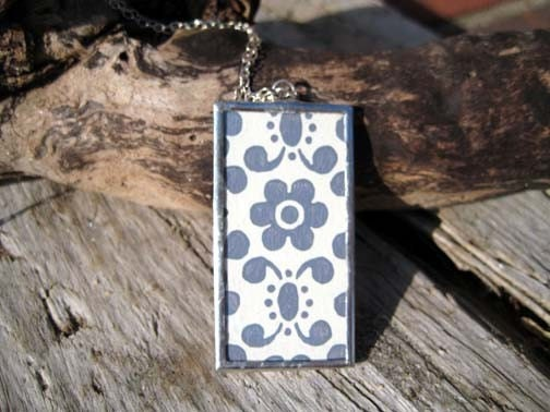 wallpaper retro blue. Retro Blue and Green Flower Vintage Wallpaper Necklace Pendant with Chain