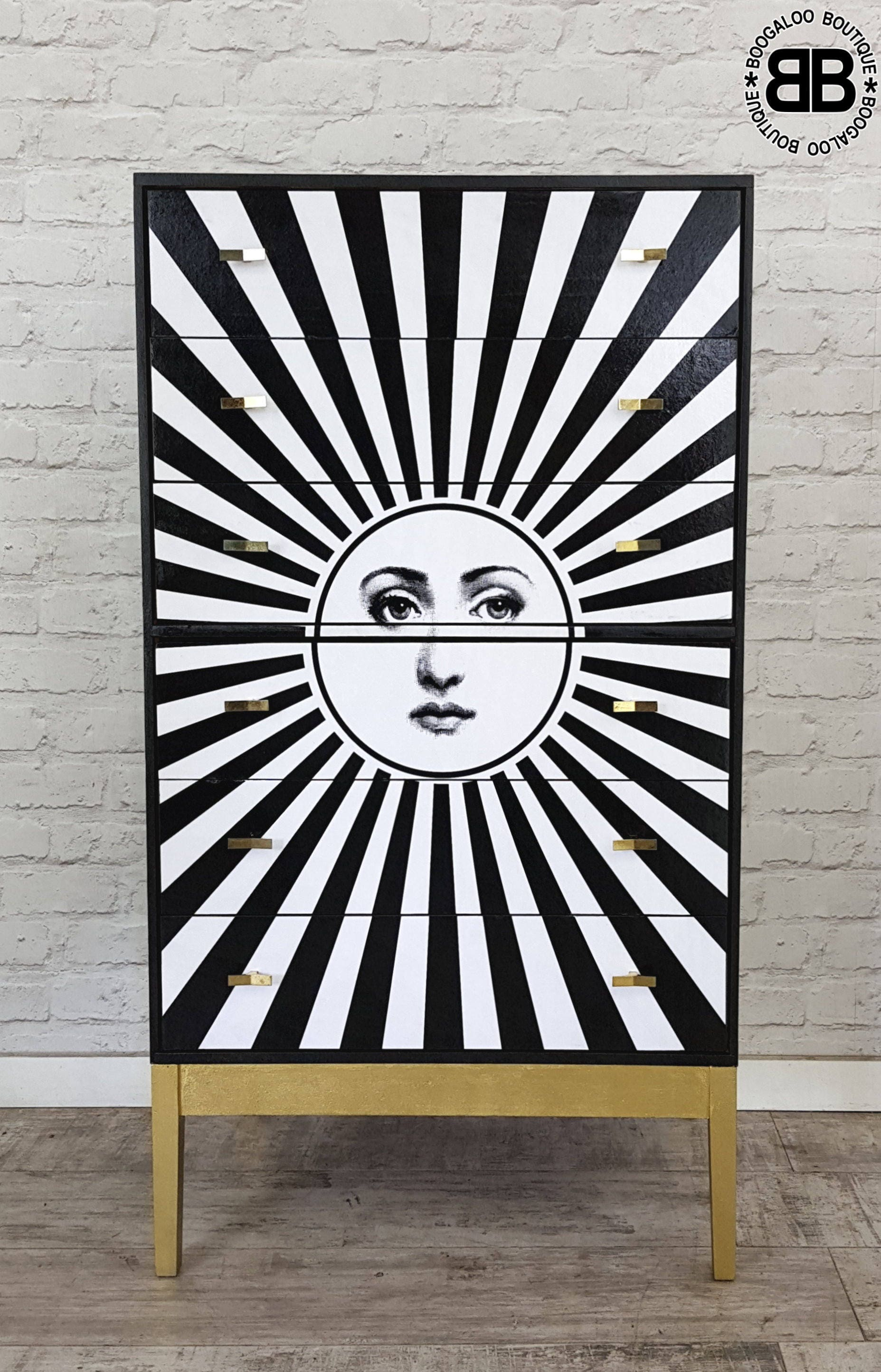 Stunning Upcycled Mid Century Chest of Drawers with Monochrome Sun Art work