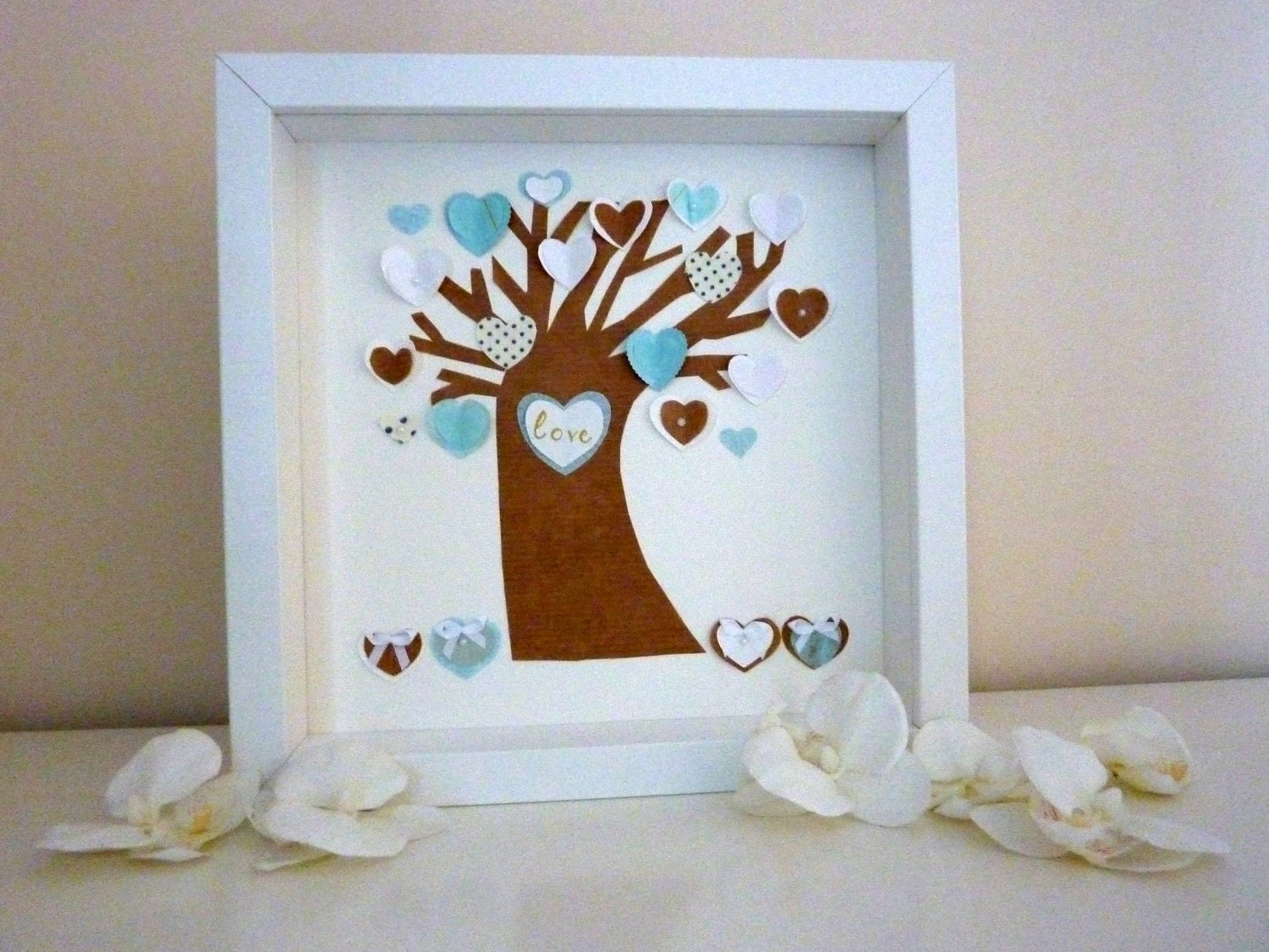 Personalized hearts tree, fabric and paper handmade picture, gift for wedding/ new baby - CreatedWithLoveuk