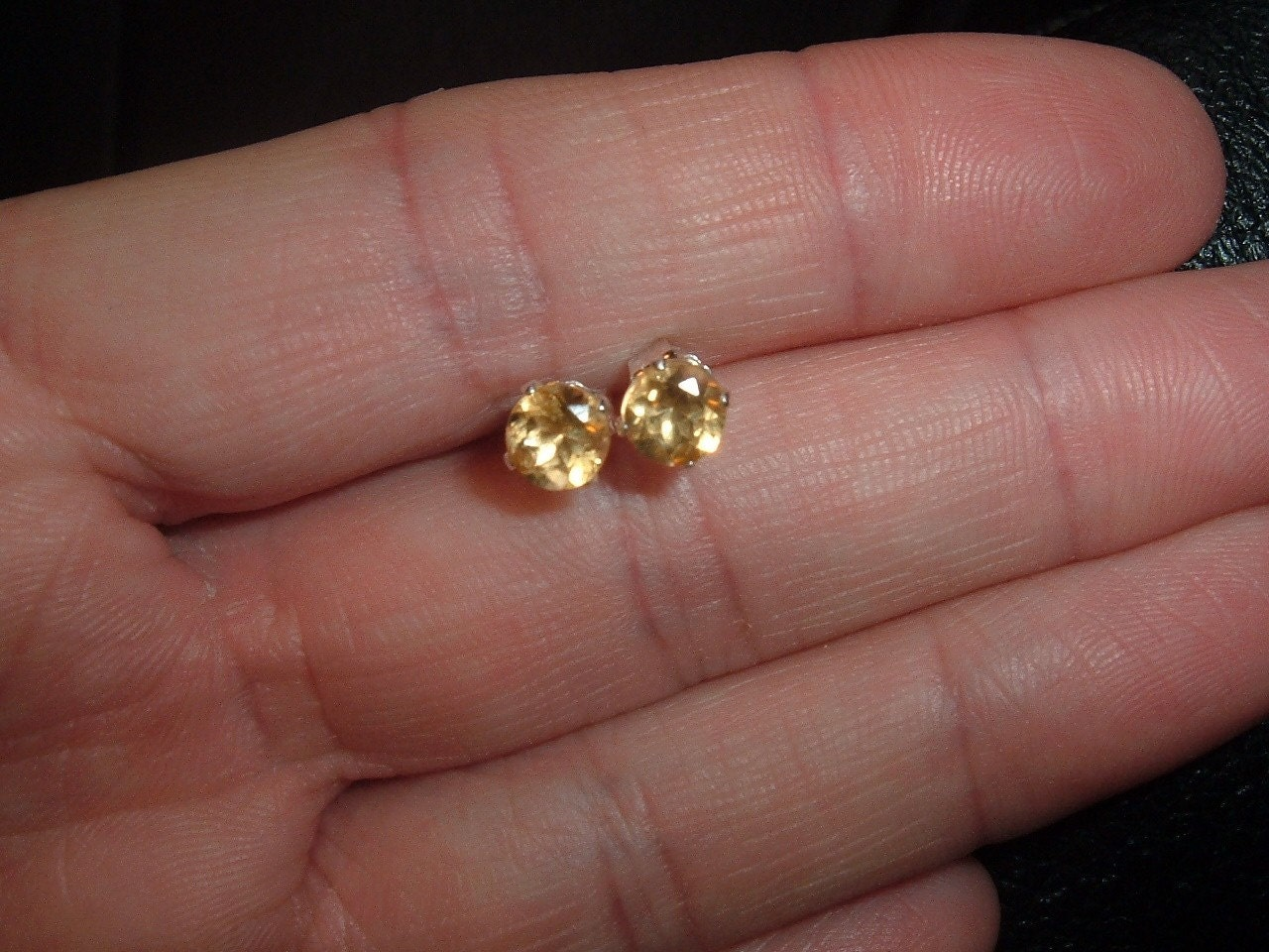 November Birthstone Citrine Stud Earrings