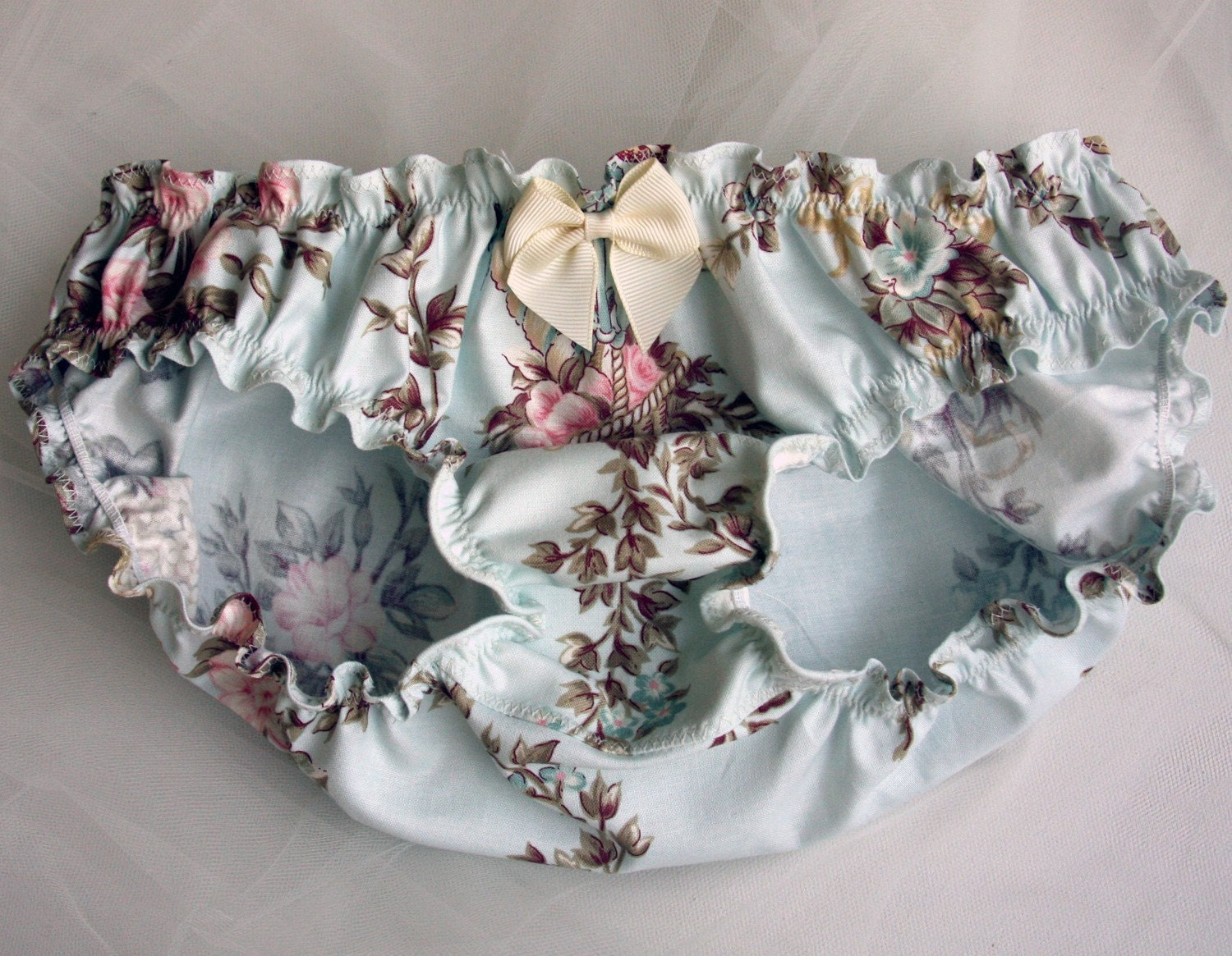Elegant blue floral panties- Made to order