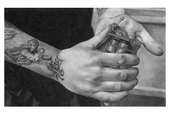 Tattoo Machine Amp Hands Pencil Drawing Print Jim By Kastanada