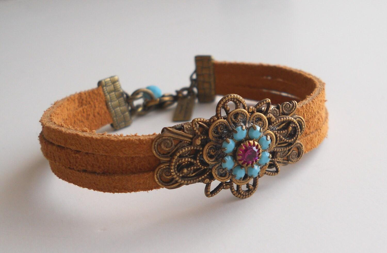 boho chic leather bracelet by bellasociety on etsy