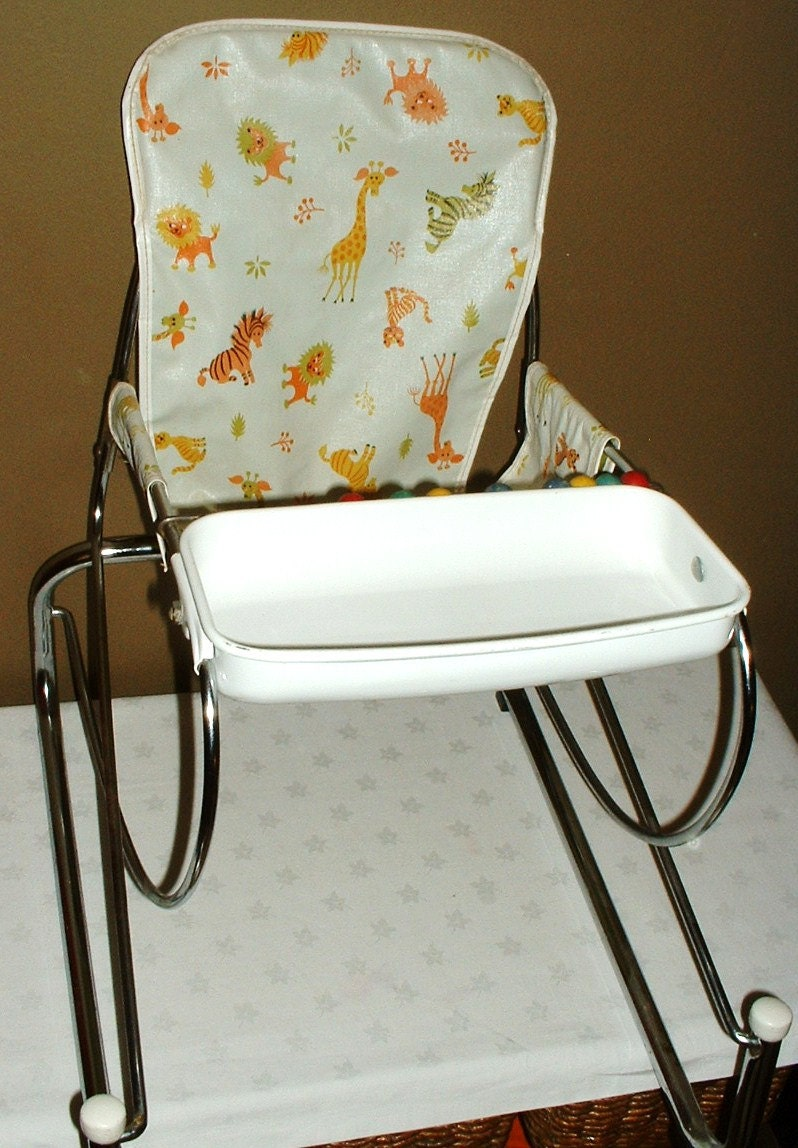 Vintage Metal Frame Toddler Bouncing Chair Seat By