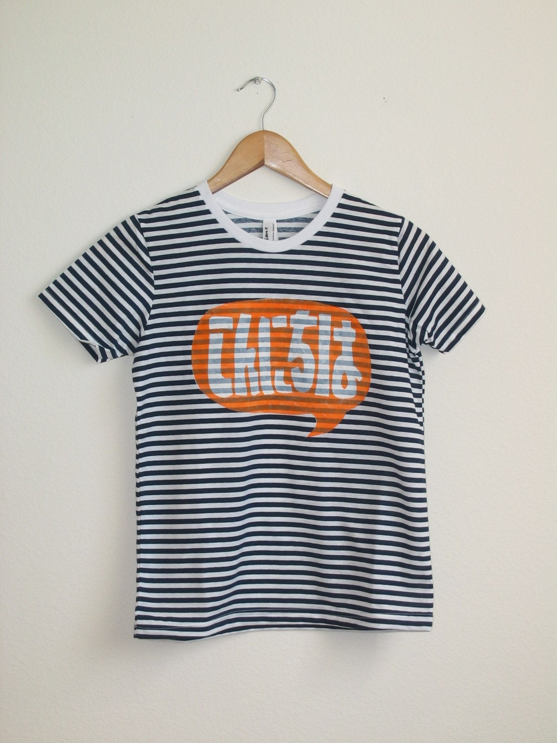 LIMITED SUPPLY Navy and White Striped Word Bubble Rolled Cuffs Hello Japanese Konnichiwa Tee