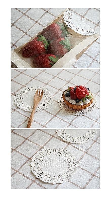 "Mini Beautiful Flower Doily(90mm 3.5"") - 200 sheets 1 set"