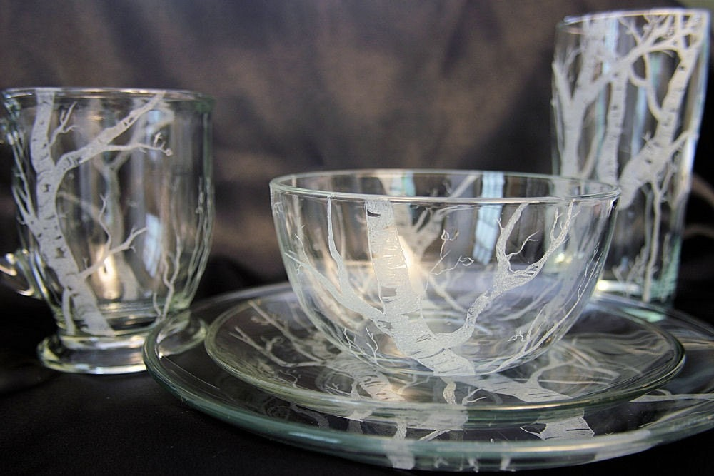 INTRODUCING - Ghost of Winter Hand Etched Dinnerware Service for 2