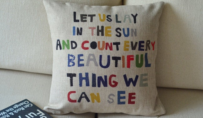 "1  linen  colorful words let us lay in the sun printed  pillow cover  / cushion case 18"" - linxge"