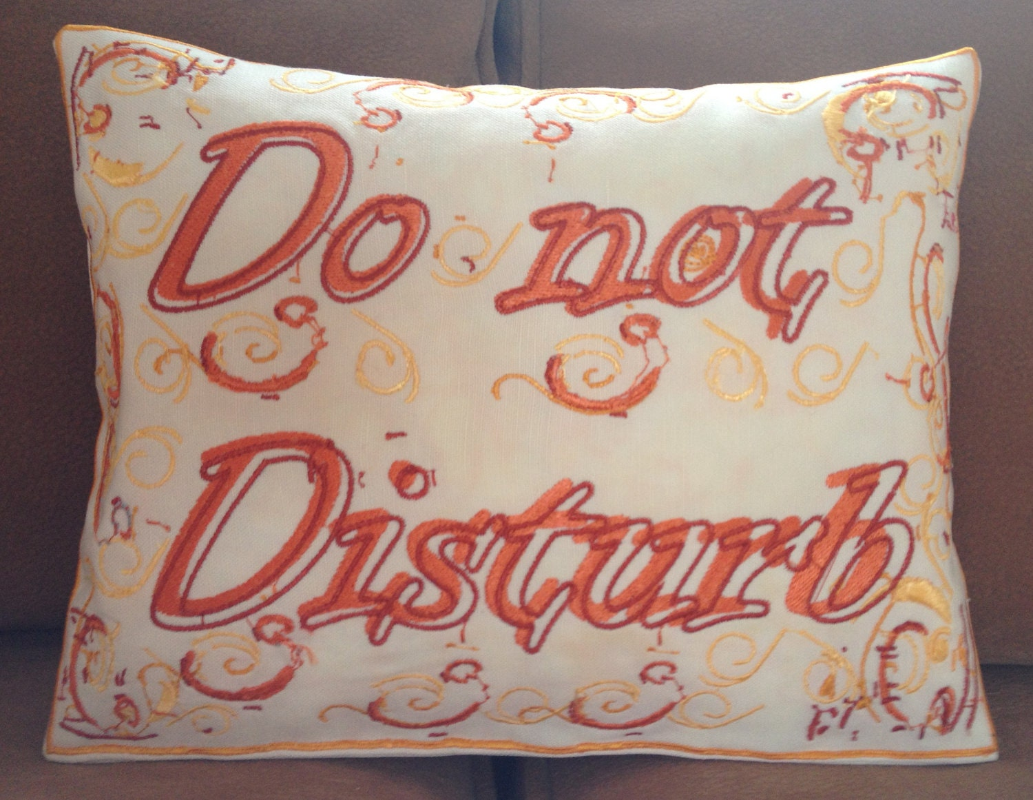 Do not Disturb, Artistic Embroidery Throw Cushion