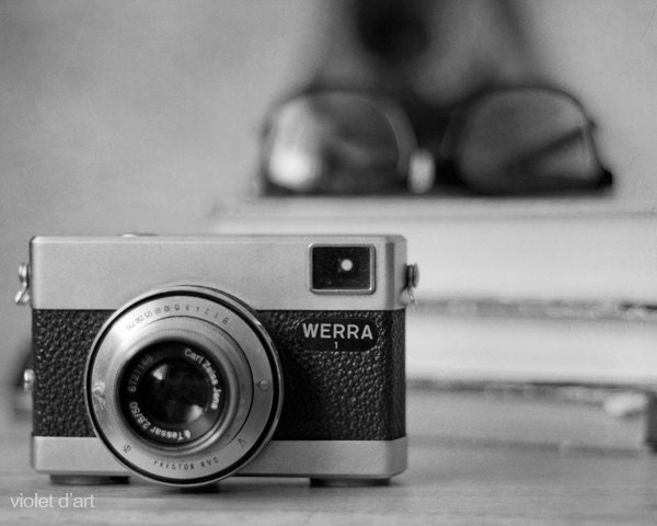 vintage photo. Werra camera Photo Print. retro still life photography, glasses and books, home decor, modern art, black and white - violetdart