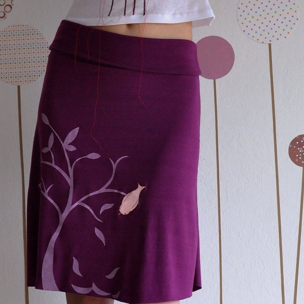 Plum Knee Length Skirt with my Drawing-The bird and the falling leaves-size Large