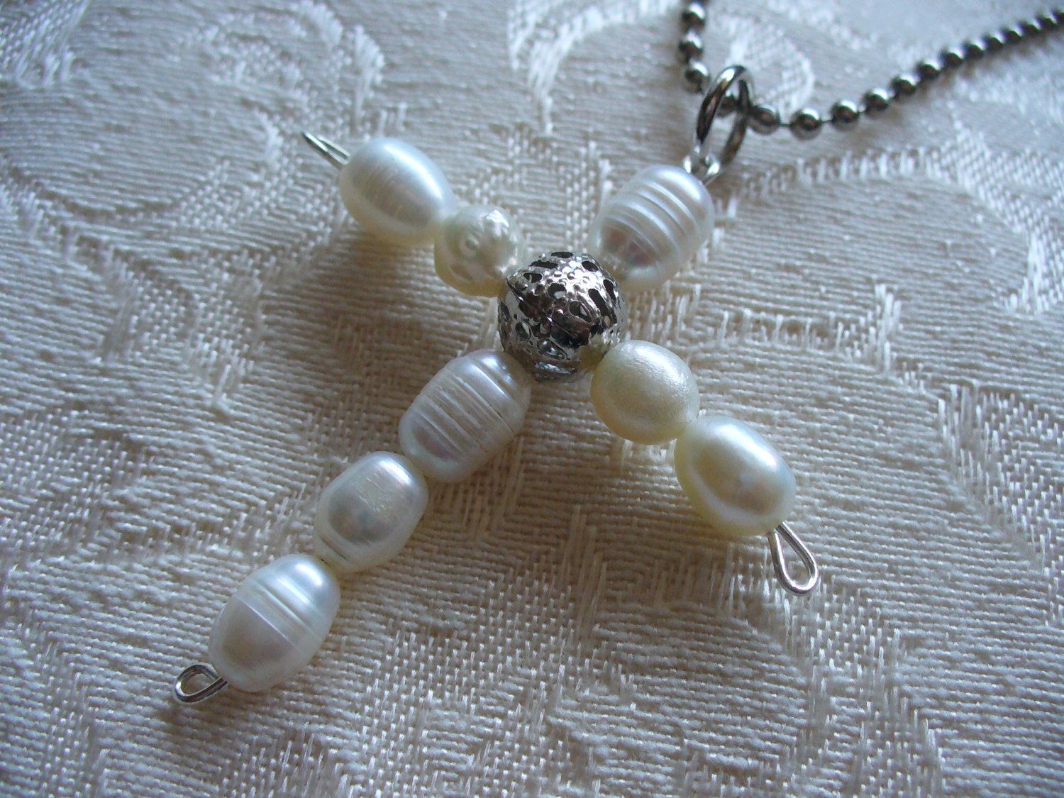 Fresh Water Pearl Cross Necklace Bridal Necklace Christmas Gift