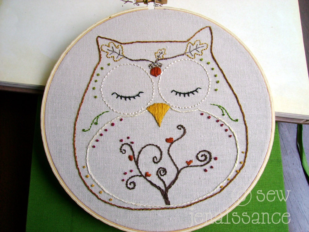 Embroidery Pattern PDF Owl Autumn and Fall Ohli the Owl - sewjenaissance