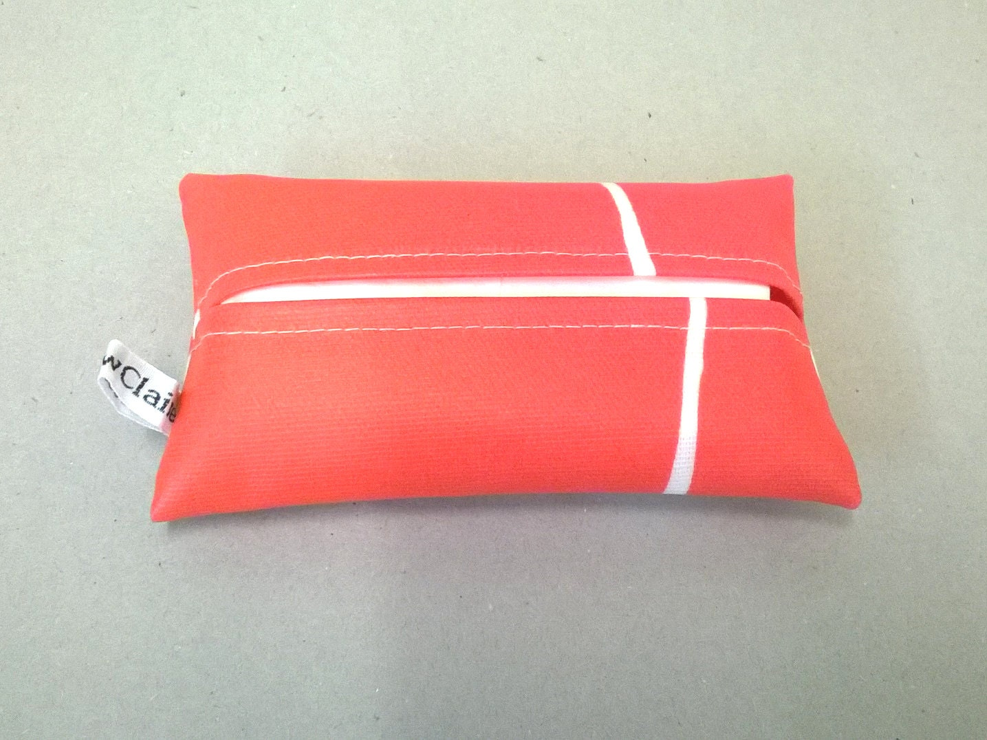 Tissue holder in coral and white with tissues Oilcloth tissue cover pocket tissue holder tissue pouch travel tissues tissue cover