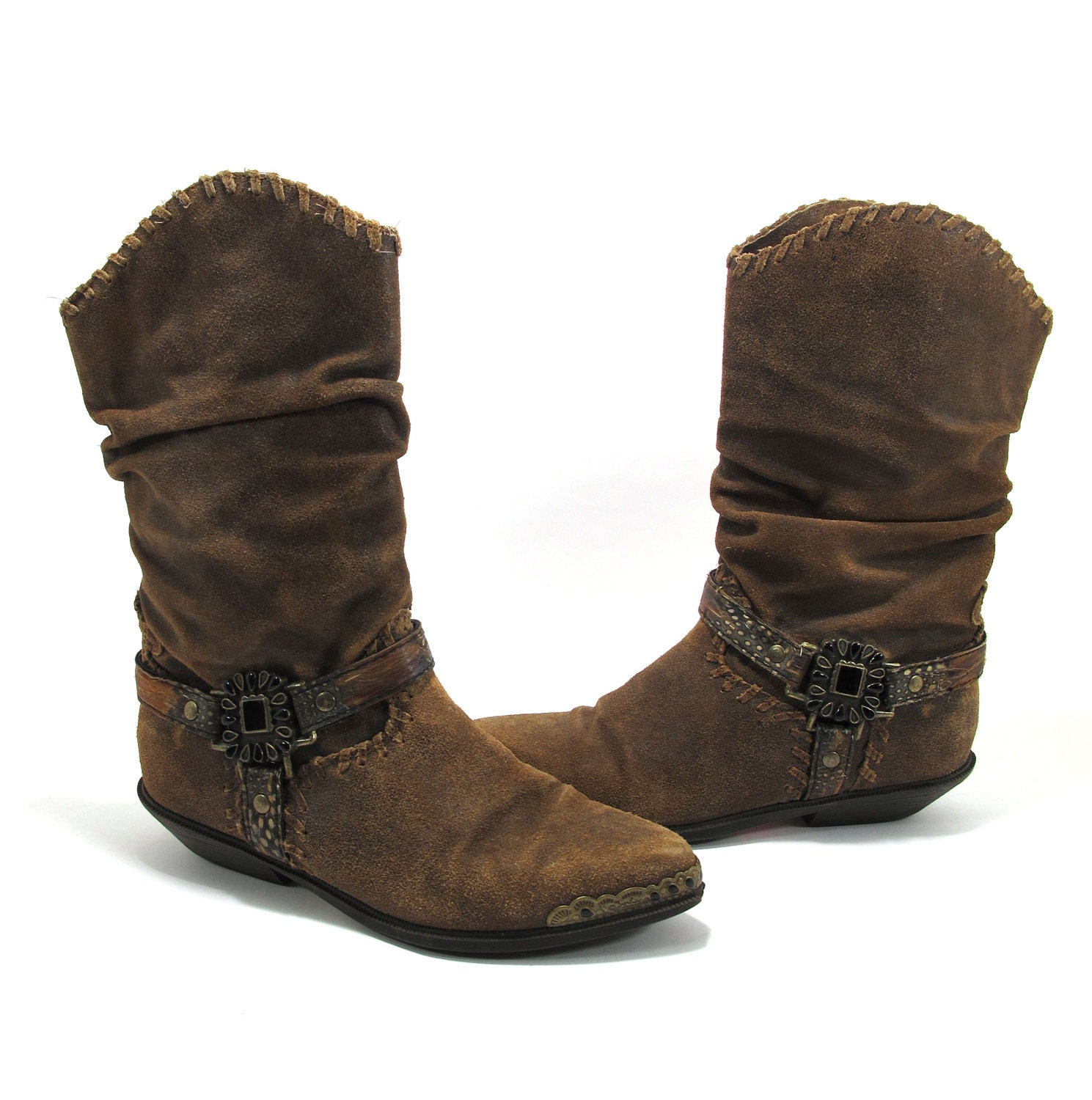 vintage brown slouch suede zodiac cowboy boots with by