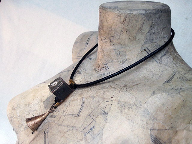 Our Love of Emptiness. Urban Primitive Rustic Choker with Pyrite Cube and Tribal Bell.