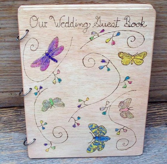 Wood Burned Butterfly Wedding Guest Book From inspiredbymarie