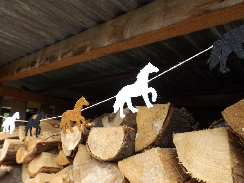 Horse Garland Horse bunting Horse decor Horse Banner equestrian Felt Garland Horse Birthday Running Horse Horse Art Horse Gift