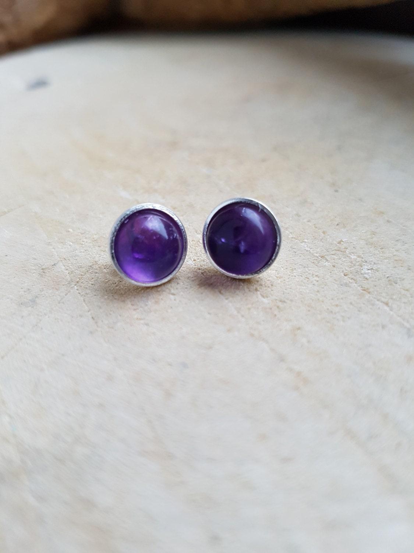 Amethyst Silver Earrings Silver Stud Earrings Stud Gemstone Earrings Birthstone Earrings February Earrings February Jewellery Valentines