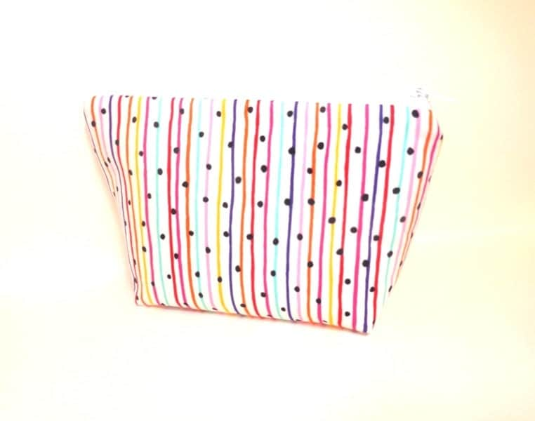 Zipper Pouch Card Wallet Cosmetic Pouch Toiletery Bag Multi Colored Stripes with Dots - handjstarcreations