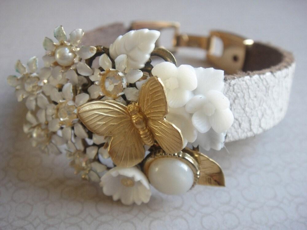 Romantic bridal small vintage collage bracelet