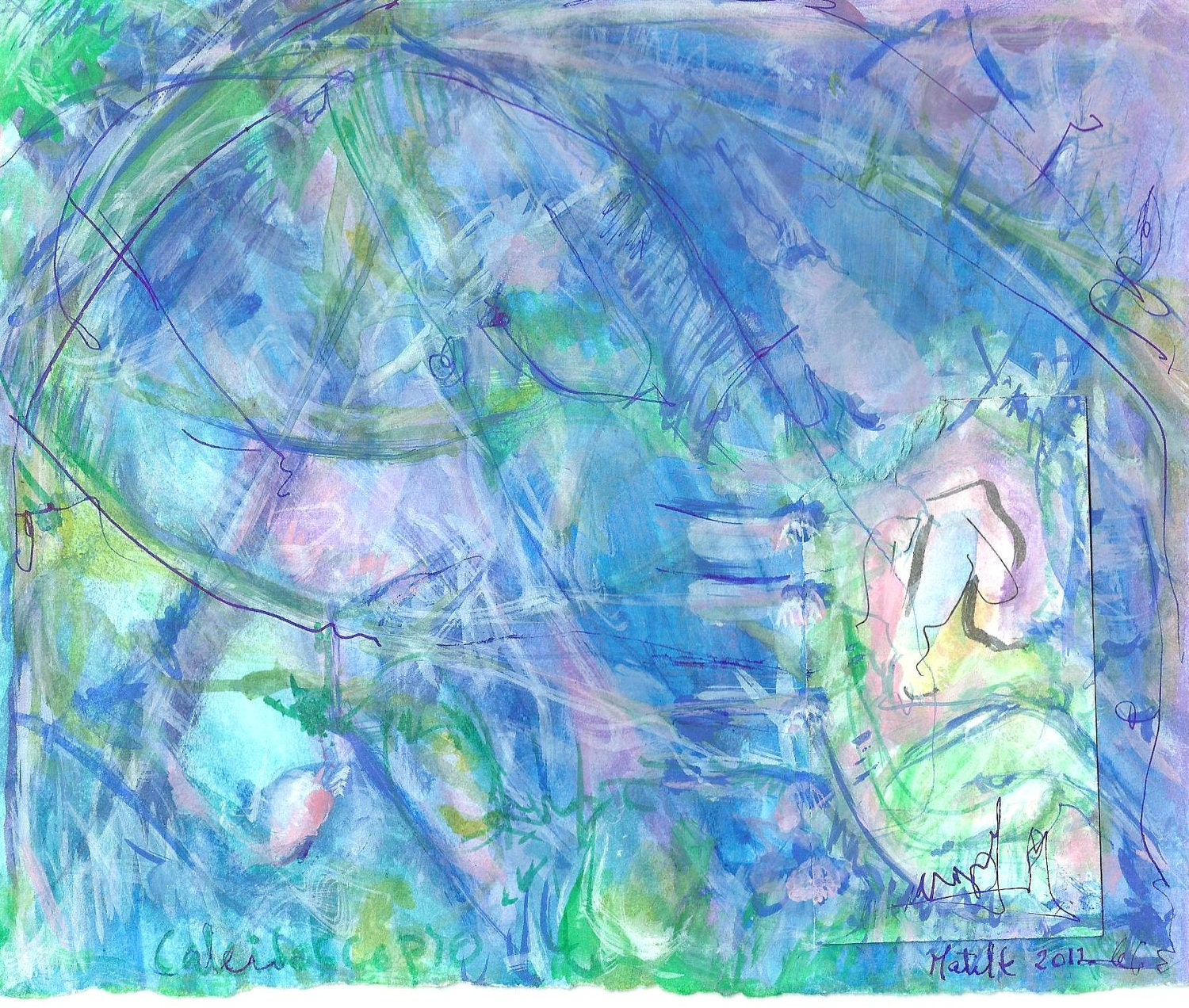 Blue, green, pink, artwork, original abstract painting-loose gestural lines, modern indian ink Watercolor Paper-Fine Art.Size: 22.8 x 19.cm.
