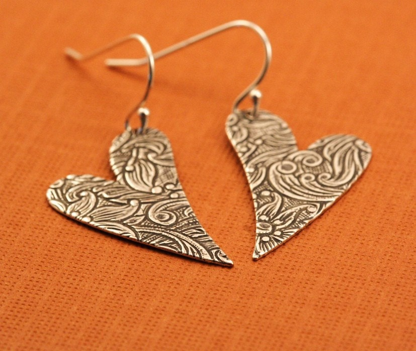 Together Forever Floral Engraved Heart Earrings