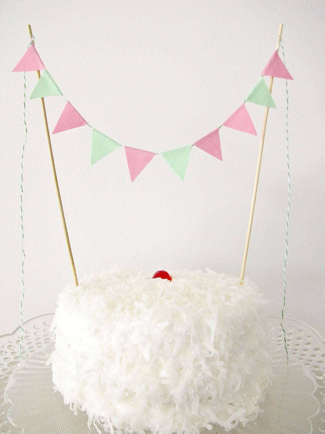 Fabric Cake Bunting Decoration - Cake Topper - Wedding, Birthday Party, Shower Decor in pink and mint