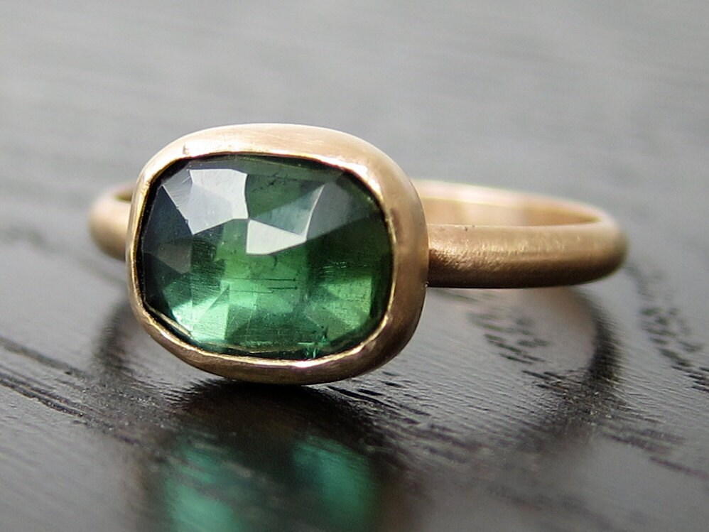 Kelly Green Rose Cut Tourmaline Ring in Recycled 14k Gold