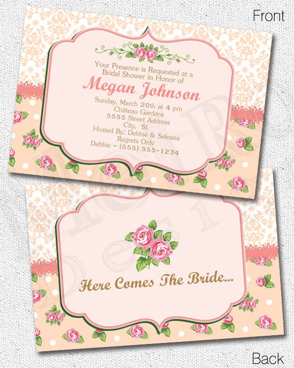 Shabby Chic Bridal Shower Invitation - Digital File - by Metro Events ...
