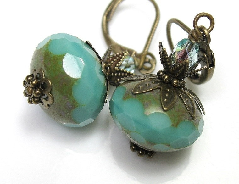Vintage Style Jewelry, Earrings, Teal Picasso Czech Glass