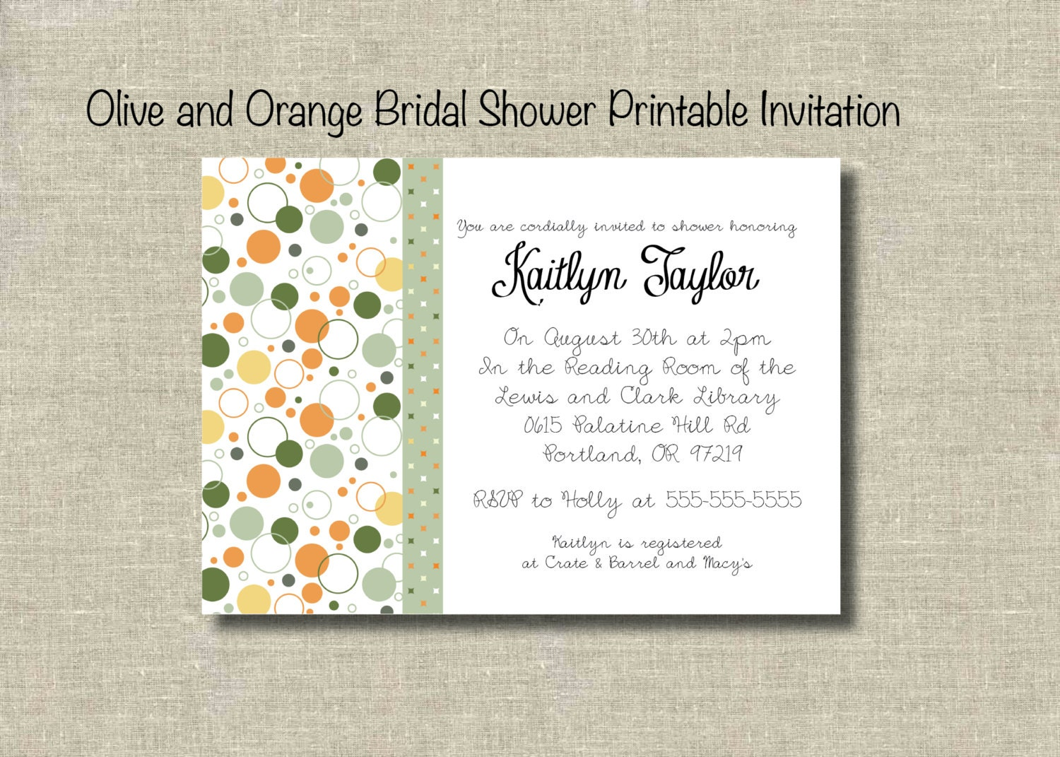 Orange and Olive Printable Bridal Shower Invitation