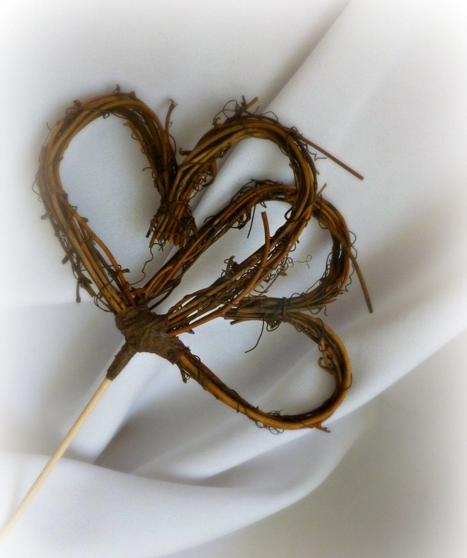 rustic cake topper double heart vine topper by handmadeaffair. Black Bedroom Furniture Sets. Home Design Ideas