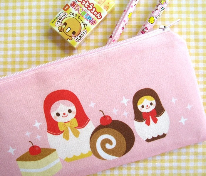 Zipper Pouch / Pencil Case - Sweet Matryoshka - Smile Recipe Original