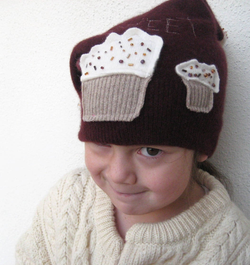 CASHMERE HAT Upcycled OOAK Burgundy Sweet Cupcakes fits age 4-100 years