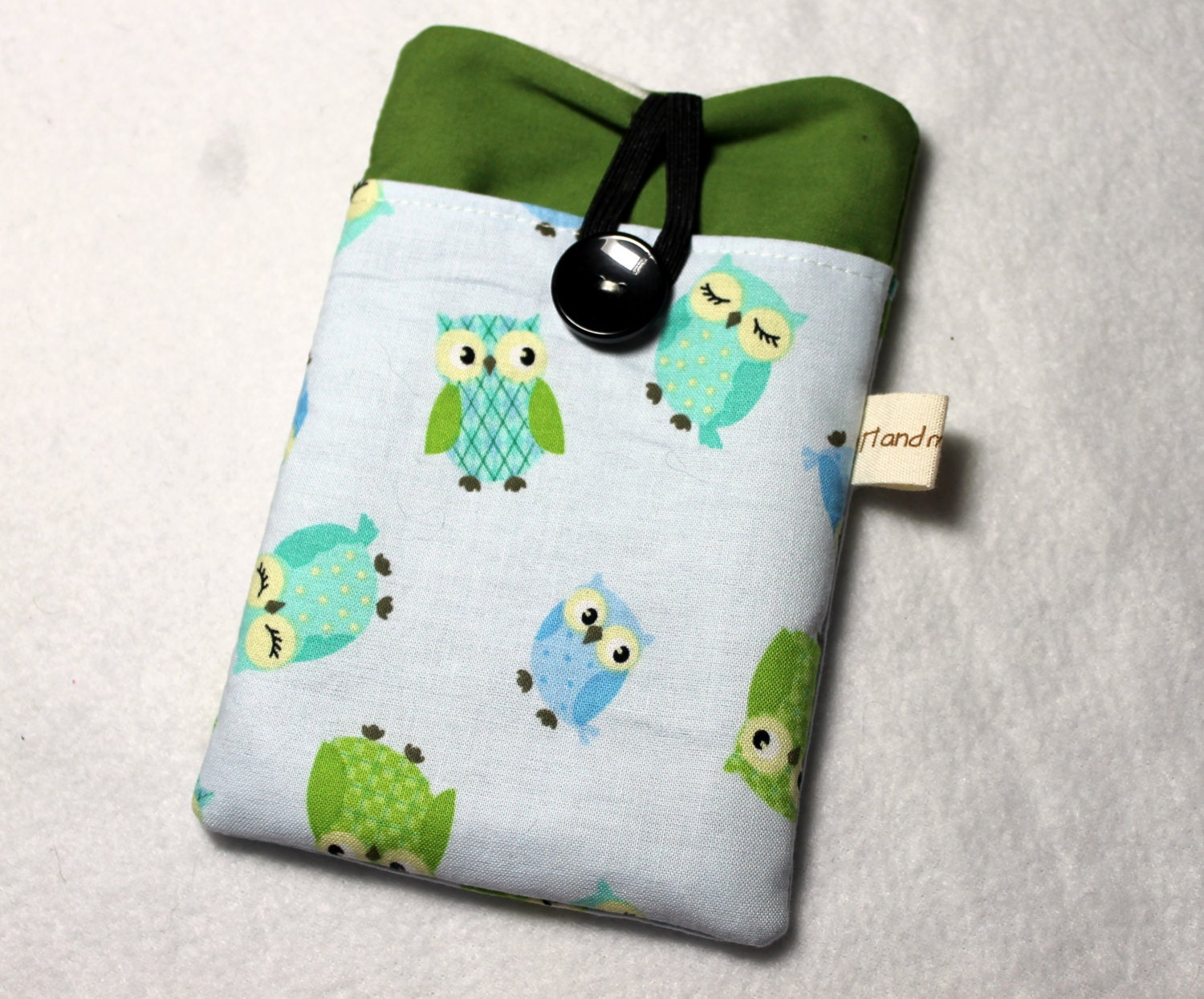Fabric iPhone sleeve, iPhone case, iPhone pouch, iPod touch sleeve, green and blue owls - Enchantingcrafts