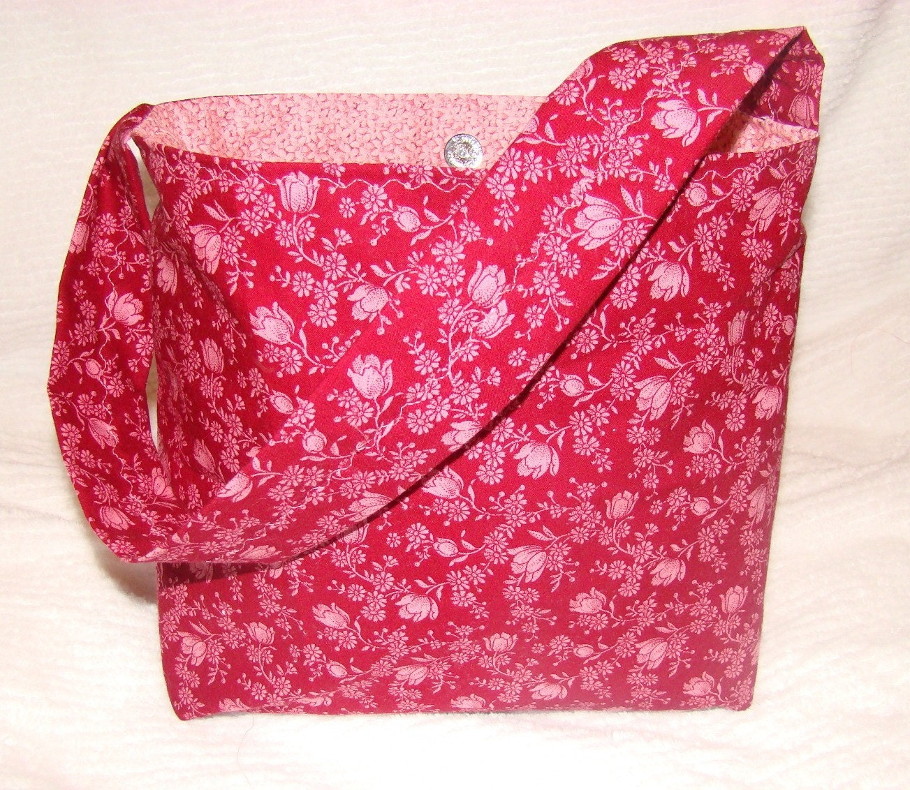 SALE Calico Cotton Deep Magenta and Pink Slouch Tote