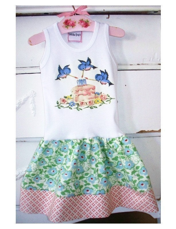 SWEET SONG BIRD DRESS - size 3 MOS UP TO 12  YOUTH - U CHOOSE THE SIZE