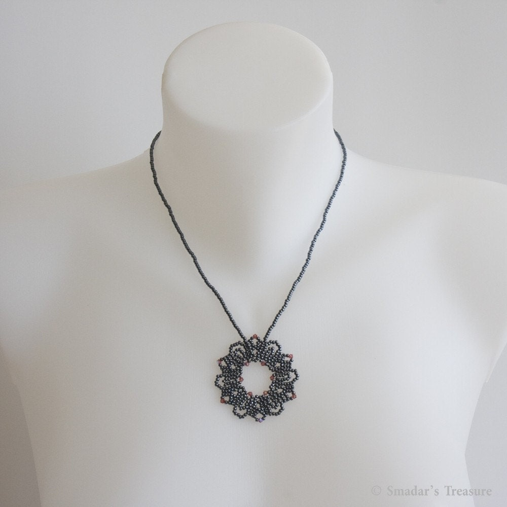 Metallic Blue Necklace with Beadwoven Flower Pendant