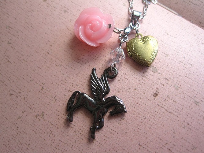 Tier. Whimsical Fantasy Flying Unicorn Stainless Steel Necklace