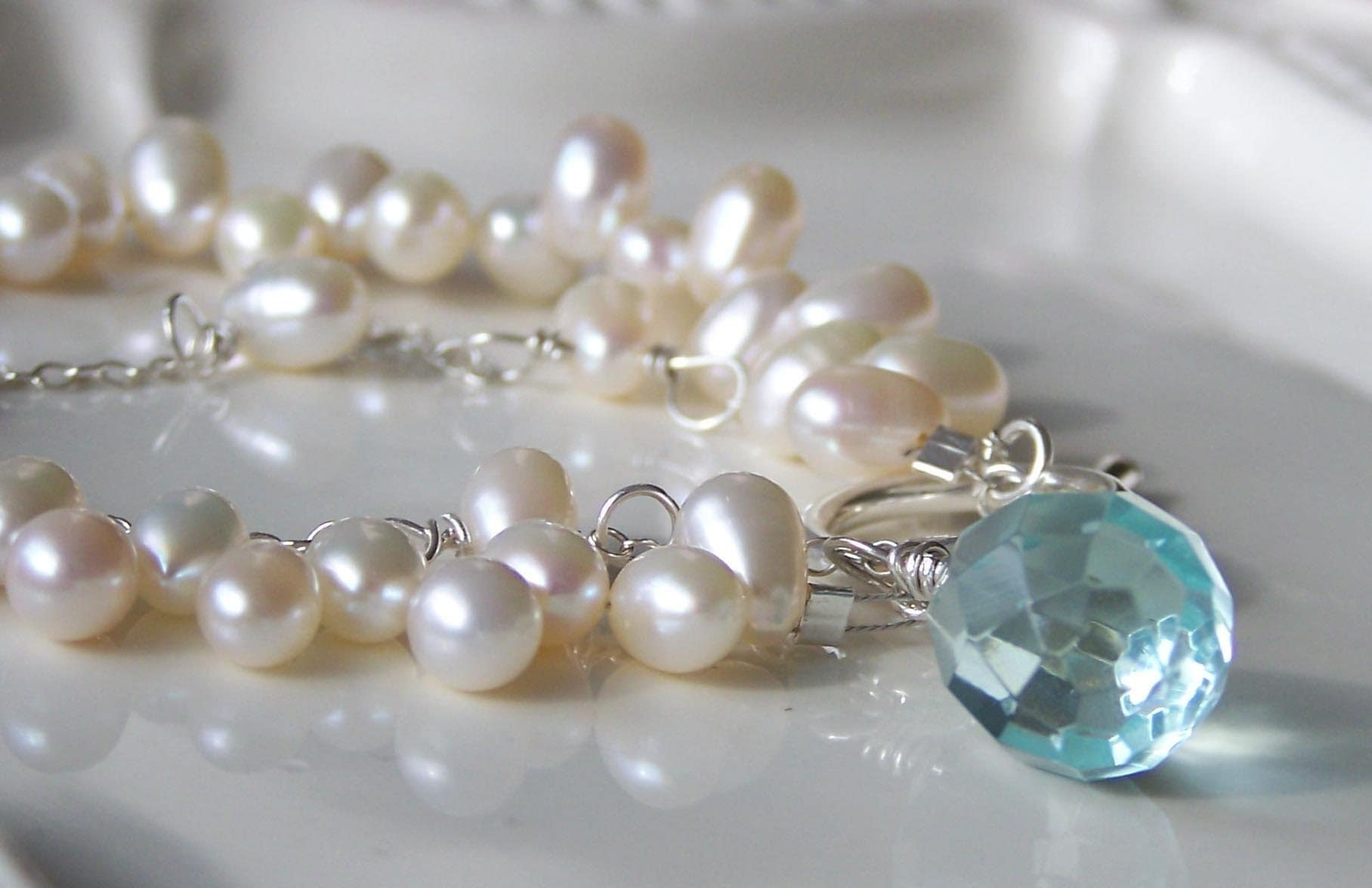 Cream Double Stranded Freshwater Pearls Bracelet with Blue Quartz