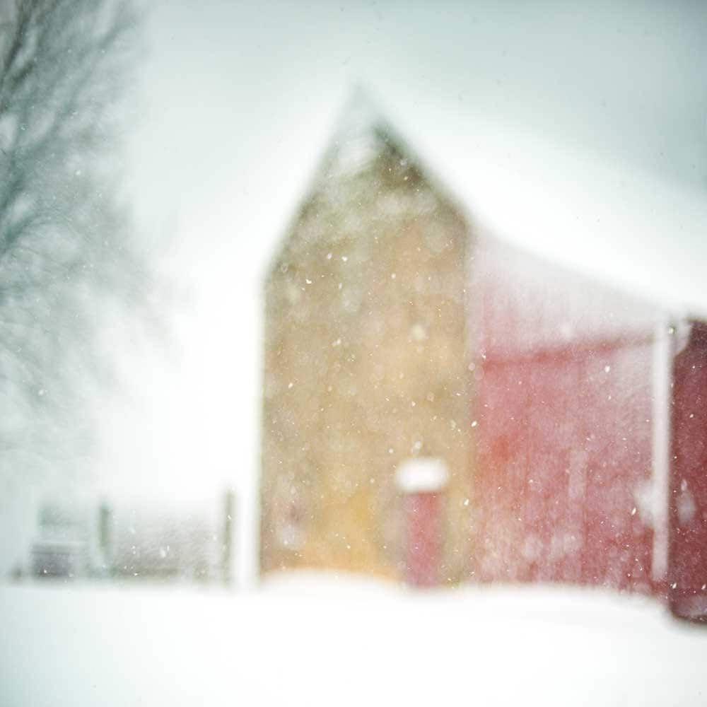 Winter Photography - Early Snow - Fine Art Photography Print - red barn snow fall dreamy country winter scene snow storm - 8x8