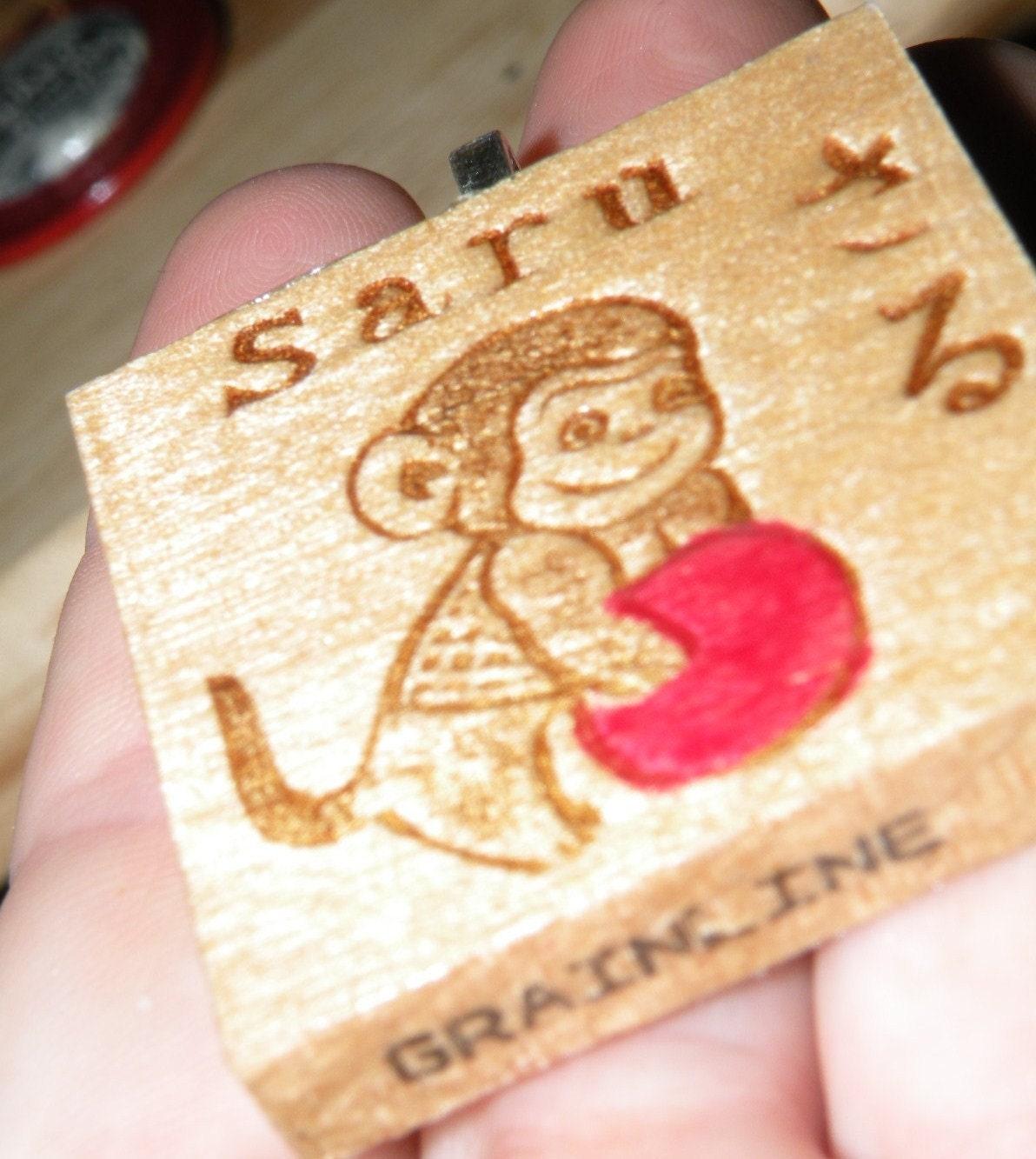 Little MONKEY PENDANT - Saru - Upcycled Vintage Japanese wood game tile tile