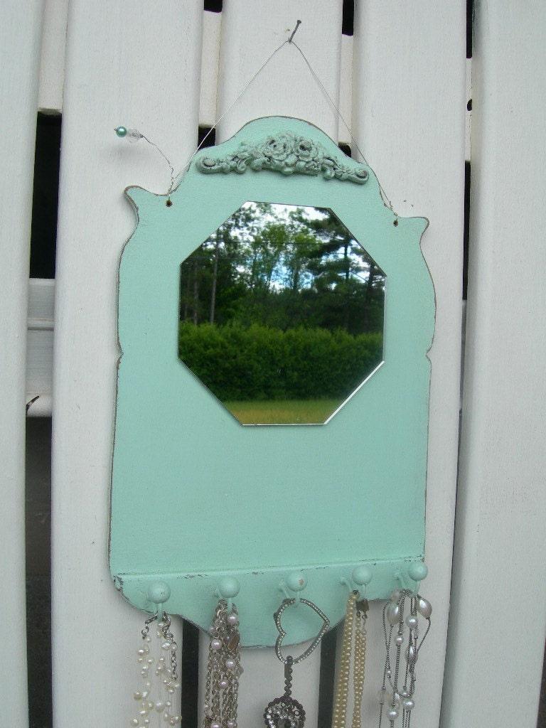 Pale Aqua...Mirror...Jewelry or Key Hanger