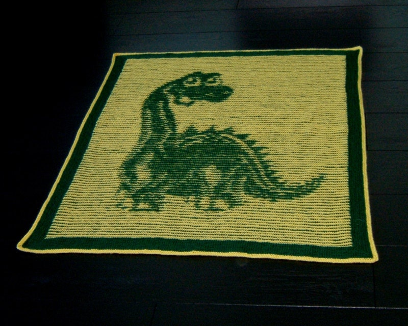 Dinosaur Baby Blanket Illusion Knit PDF by woollythoughts