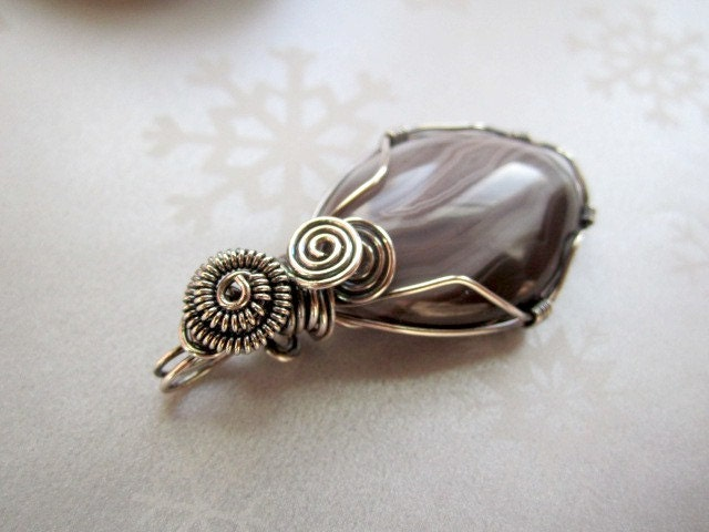 Sterling Silver Wire Wrapped Pendant Botswana Agate Stone - MyWiredHeart