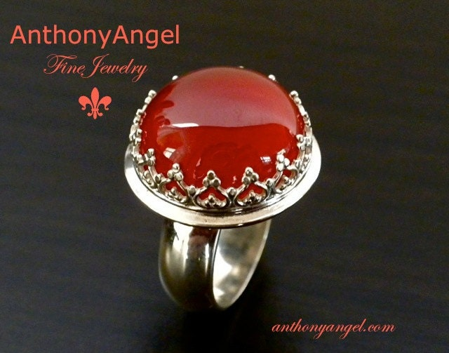 Crown Ring With Carnelian - AnthonyAngelcom