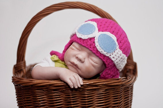 Aviator Hat and Goggles baby toddler and child PINK
